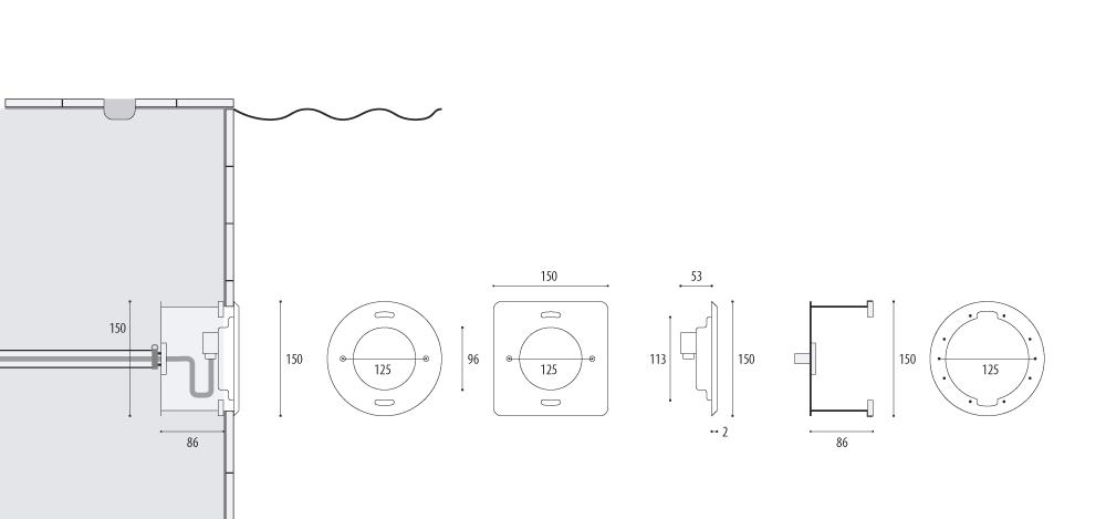 Подводный прожектор WIBRE 4.0102, схема монтажа