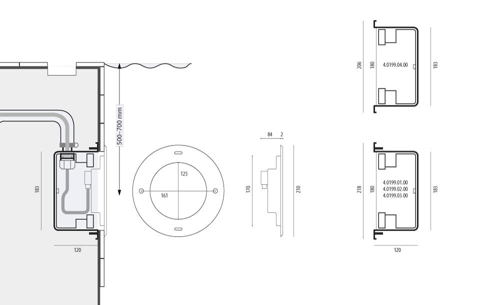 Подводный прожектор WIBRE 4.0202, схема монтажа