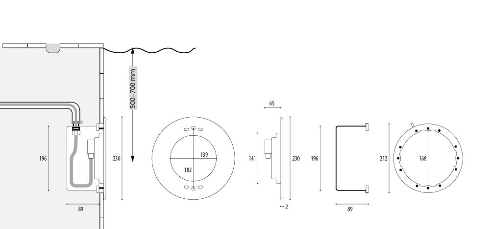 Подводный прожектор WIBRE 4.0292, схема монтажа