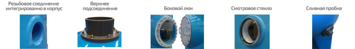 Резьбовое подсоединение в корпусе, смотровое стекло, верхнее соединение, боковой люк, сливная пробка